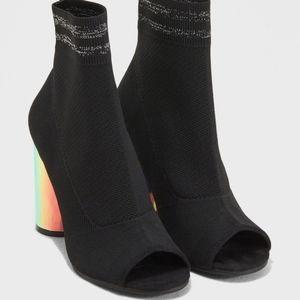 Call It Spring Chunky Heel Sock Boots